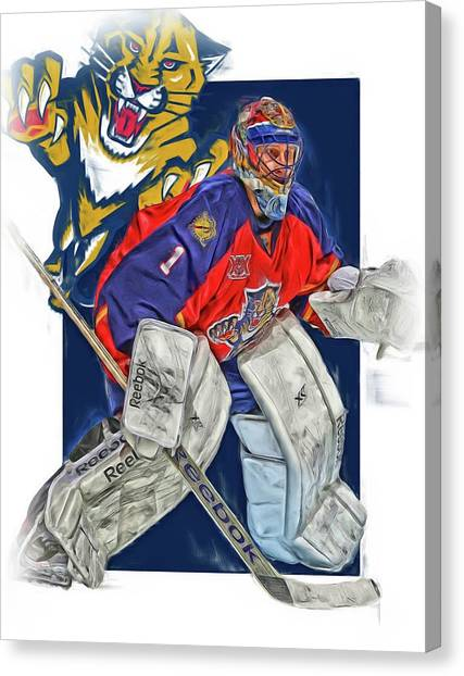 Florida Panthers Canvas Print - Roberto Luongo Florida Panthers Oil Art by Joe Hamilton