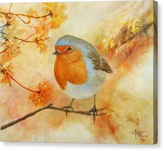 Robin Among Flowers Canvas Print
