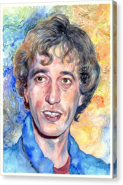 Perching Birds Canvas Print - Robin Gibb Portrait by Suzann's Art