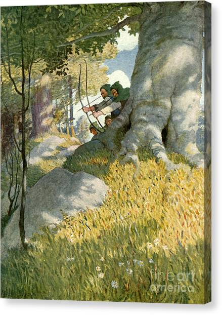 Sherwood Forest Canvas Print - Robin Hood And His Companions Rescue Will Stutely by Newell Convers Wyeth