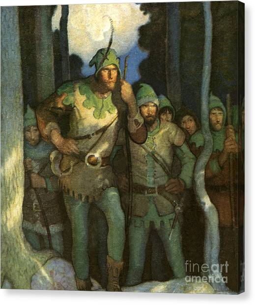 Woodsmen Canvas Print - Robin Hood And His Merry Men by Newell Convers Wyeth