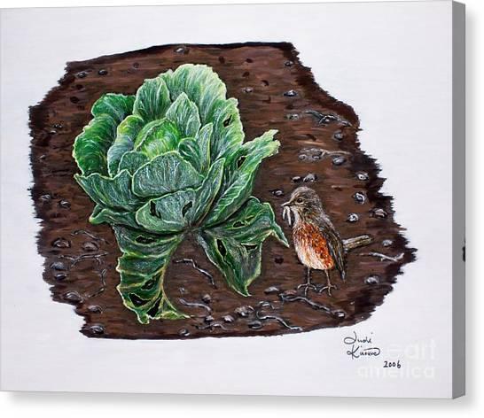 Robin In The Gardin Canvas Print