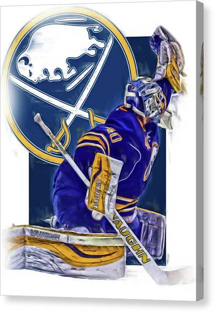 Buffalo Sabres Canvas Print - Robin Lehner Buffalo Sabres Oil Art by Joe Hamilton