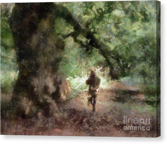 Sherwood Forest Canvas Print - Robin The Hooded Man By Sarah Kirk by Sarah Kirk