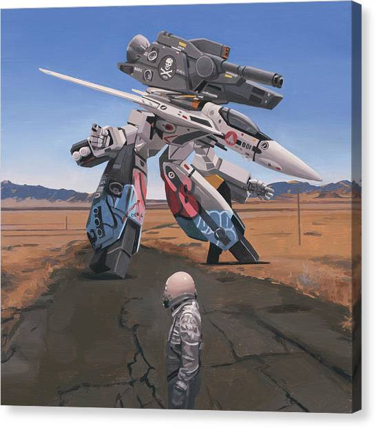 Canvas Print featuring the painting Robotech by Scott Listfield