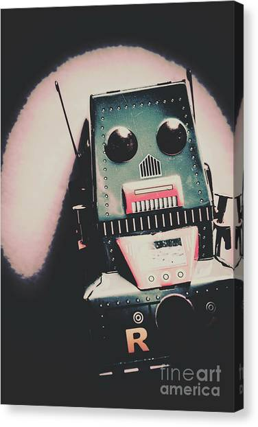 Robotic Mech Under Vintage Spotlight Canvas Print