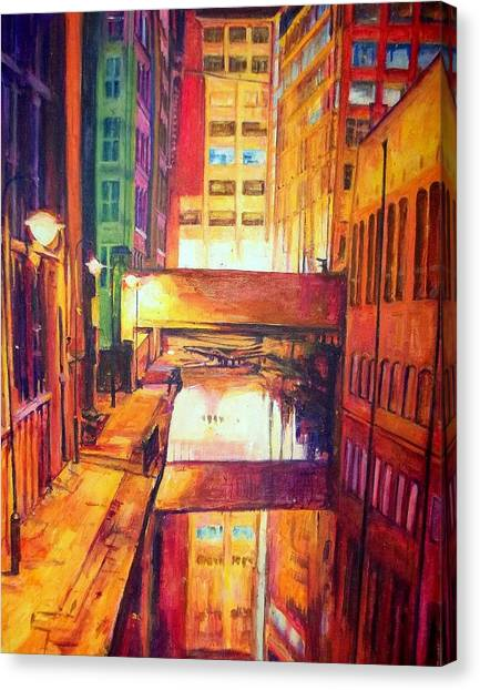Rochdale Canal With Lock At Night Canvas Print