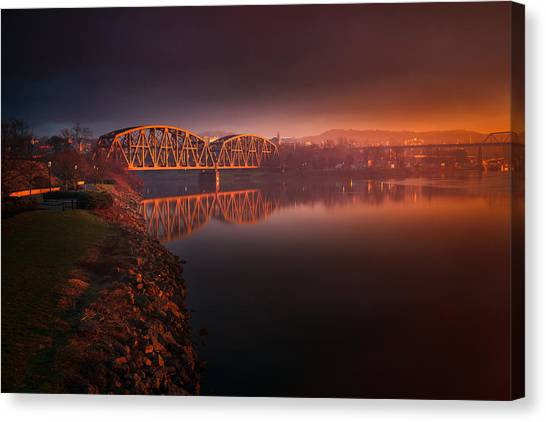 Beavers Canvas Print - Rochester Train Bridge  by Emmanuel Panagiotakis