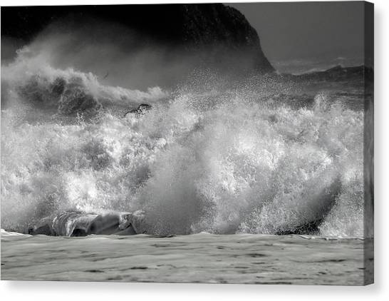 Tumbling Canvas Print - Rock And Roll Black Sand Beach Iceland by Betsy Knapp