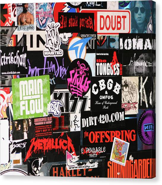 Rock And Roll Stickers Canvas Print