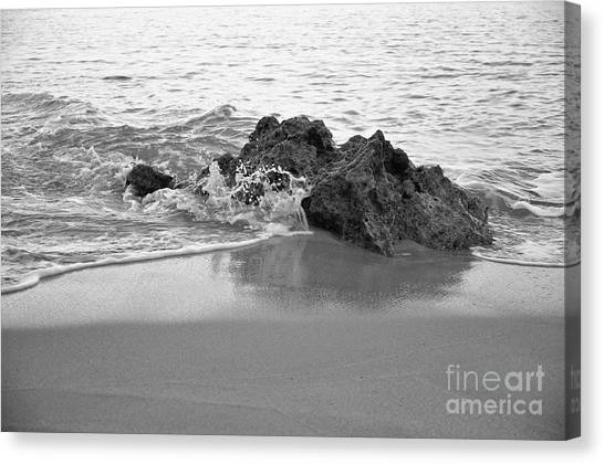 Rock And Waves In Albandeira Beach. Monochrome Canvas Print