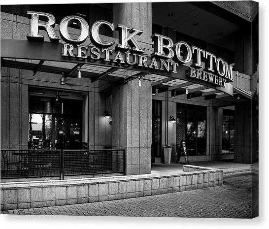 Rock Bottom Restaurant And Brewery In Black And White Canvas Print by Greg Mimbs