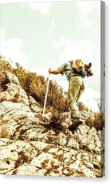 Backpacks Canvas Print - Rock Climbing Mountaineer by Jorgo Photography - Wall Art Gallery