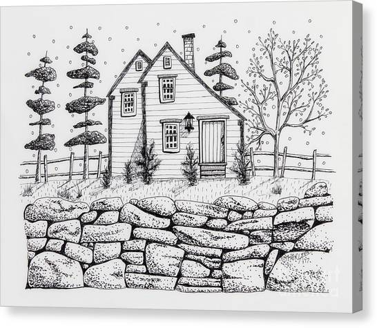 Pen And Ink Drawing Canvas Print - Rock Fence by Karla Gerard