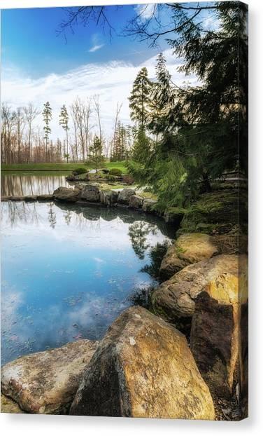 Boulder Canvas Print - Rock Lined Pond by Tom Mc Nemar