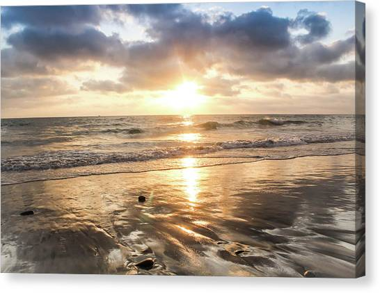 Canvas Print featuring the photograph Rock 'n Sunset by Alison Frank
