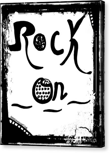 Canvas Print featuring the drawing Rock On by Rachel Maynard