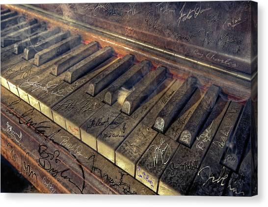 Bob Dylan Canvas Print - Rock Piano Fantasy by Mal Bray