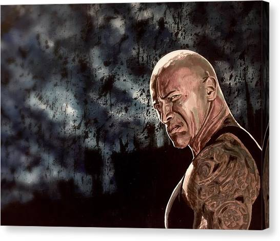 Dwayne Johnson Canvas Print - Rock The Night by Joel Tesch