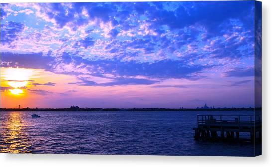 Rockaway Point Dock Sunset Violet Orange Canvas Print