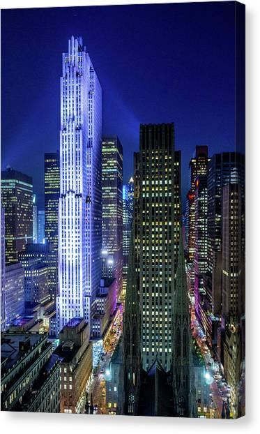 Rockefeller At Night Canvas Print