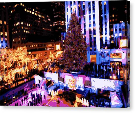 The City That Never Sleeps Canvas Print - Rockefeller Tree Color 16 by Scott Kelley