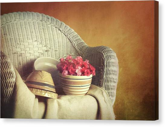Rocker Canvas Print - Rocker With Bowls by Tom Mc Nemar