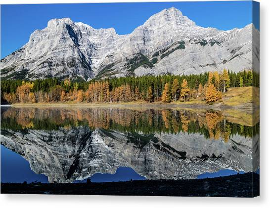 Rockies From Wedge Pond Under Late Fall Colours, Spray Valley Pr Canvas Print