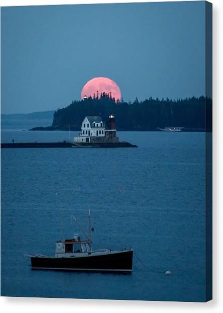 Lobster Boat Canvas Print - Rockland Harbor Full Moon by Tim Sullivan