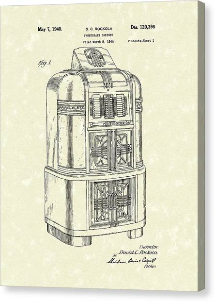 Jukebox Canvas Print - Rockola Phonograph Cabinet 1940 Patent Art by Prior Art Design