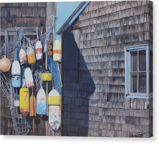 Rockport Fishing Shack With Lobster-buoys And Nets Canvas Print