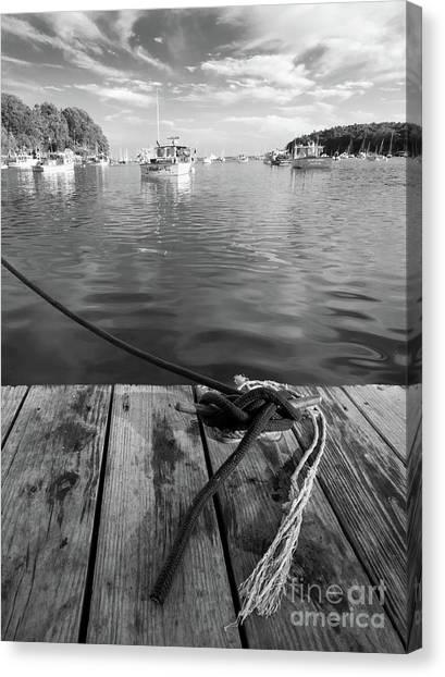 Rockport Harbor, Maine #80458-bw Canvas Print