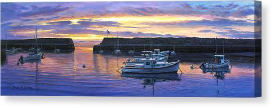 Rockport Ma Sunset Canvas Print by Bruce Dumas