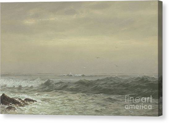 Murky Canvas Print - Rocks And Breaking Waves by William Trost Richards