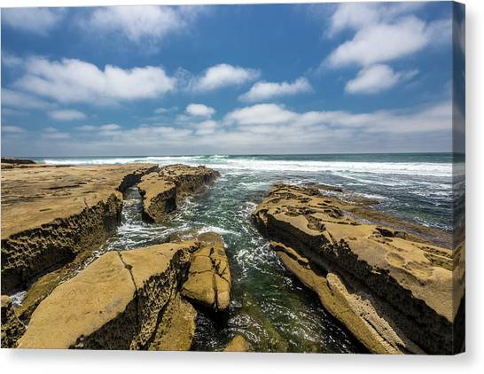 Surf Lifestyle Canvas Print - Rocks And Puffies by Peter Tellone