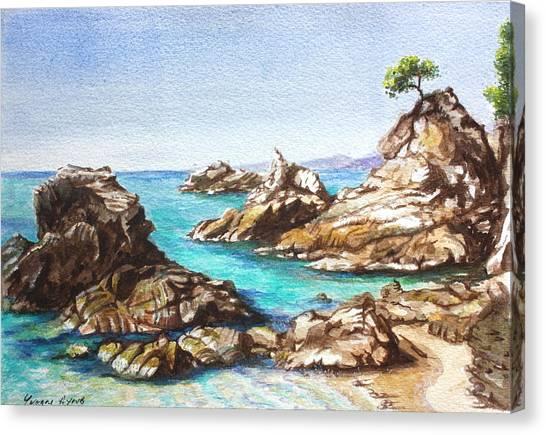 Rocks At Kalamaki Canvas Print by Yvonne Ayoub