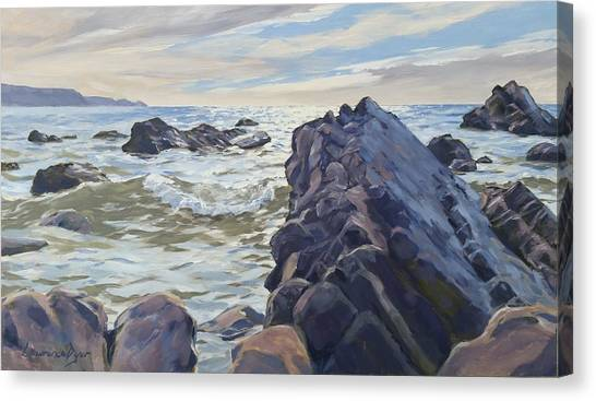 Rocks At Widemouth Bay, Cornwall Canvas Print