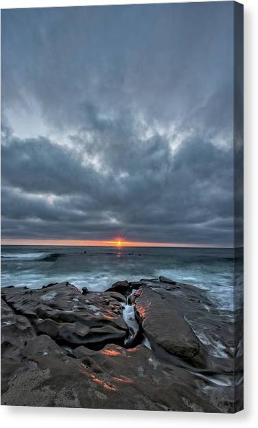 Surf Lifestyle Canvas Print - Rocks On Fire by Peter Tellone