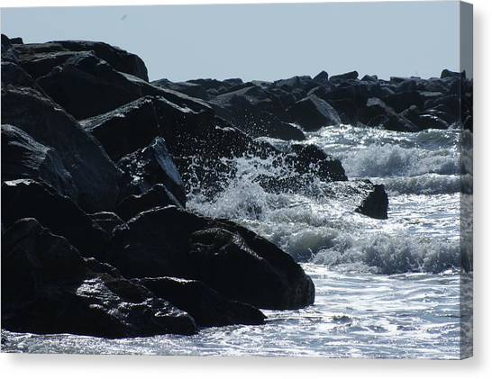 Rocks On The Jetti At Cocoa Beach Canvas Print