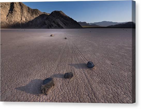 Death Valley Canvas Print - Rocks On The Racetrack Death Valley by Steve Gadomski