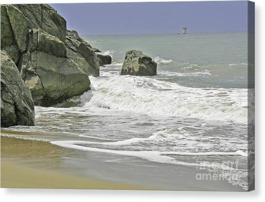 Rocks, Sand And Surf Canvas Print