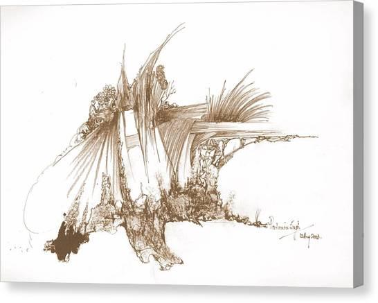 Rocks Stones And Some Grass Canvas Print by Padamvir Singh