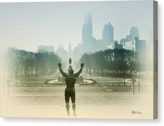 Stallone Canvas Print - Rocky At The Top Of The Steps by Bill Cannon
