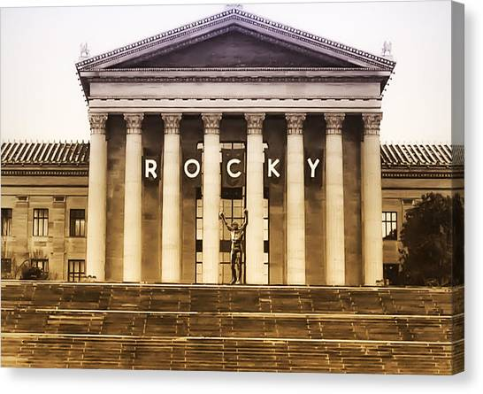 Sylvester Stallone Canvas Print - Rocky Balboa On The Art Museum Steps by Bill Cannon