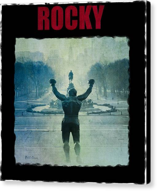 Sylvester Stallone Canvas Print - Rocky Balboa On Top Of The Art Museum Steps by Bill Cannon