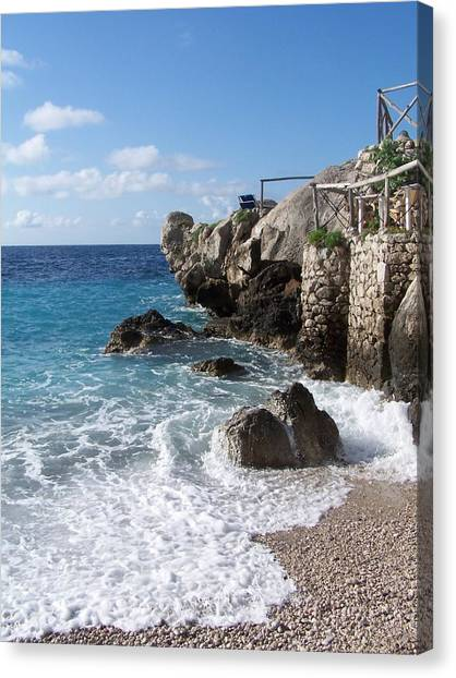 Rocky Beach On Capri Canvas Print by Adam Schwartz