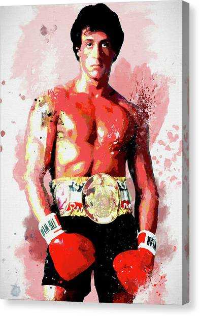 Sylvester Stallone Canvas Print - Rocky Colorful Splatter by Dan Sproul