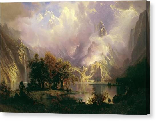 Mountain Cliffs Canvas Print - Rocky Mountain Landscape by Albert Bierstadt
