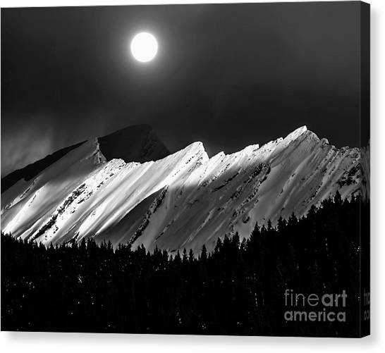 Rocky Mountains In Moonlight Canvas Print