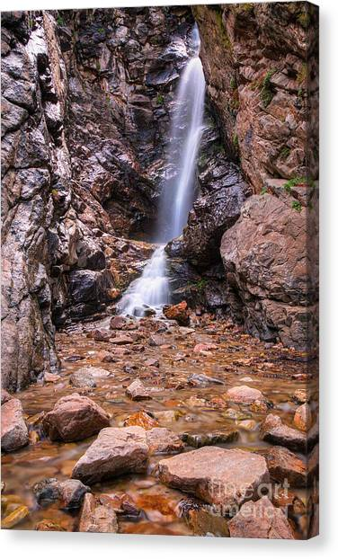 Canvas Print featuring the photograph Rocky Mouth Waterfall by Spencer Baugh